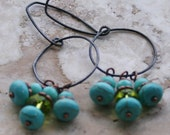Earthy Rustic Earrings / Woodland Earrings / Turquoise Earrings / Lime Green Earrings / Dangle Hoop Earrings