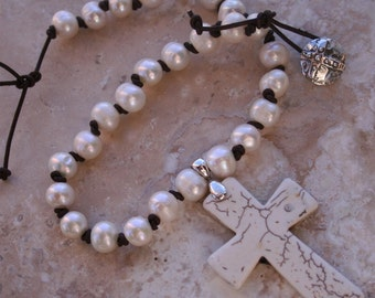 SPECIAL ORDER ITEM - Handmade Faith Religious Rugged Romantic Earthy Woodland Elegant White Turquoise Cross on Knotted Leather Necklace
