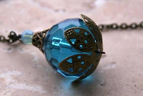 Holiday Sale Handcrafted Antique Vintage Earthy Rustic Romantic Elegant Feminine Aqua Blue Pendant on Brass Chain Necklace
