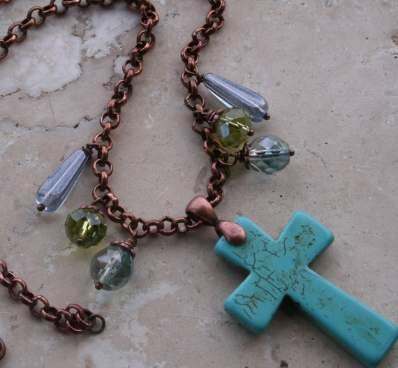 Earthy Rustic Necklace / Woodland Rustic Necklace / Cowgirl Necklace / Religious Christian Necklace / Cross Necklace