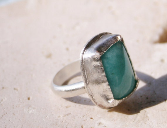 Amazonite Ring / Sterling Silver Ring / Blue Aqua Ring / Turquoise Ring