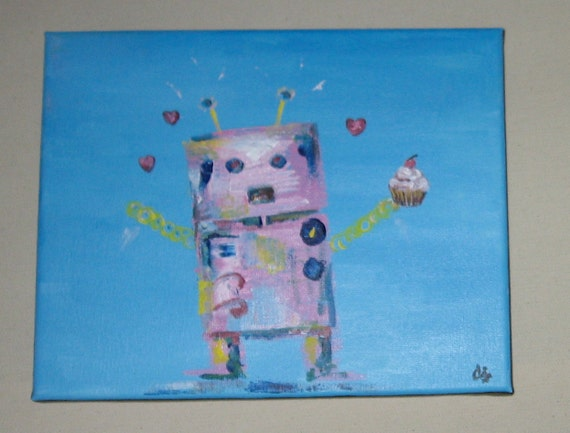 Acrylic Painting -  Robot Cupcake -  8 x 10 Inches