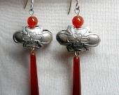 Orange Carnelian Metal Flower Earrings