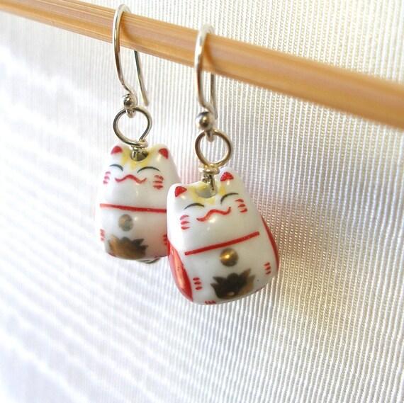 Cute Ceramic Cat Earrings