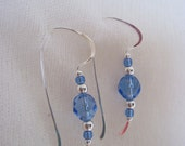 Sterling Silver and Blue Beaded Earrings