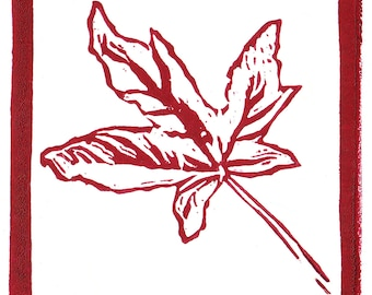 MAPLE LEAF Linocut Hand Pulled ORIGINAL Miniature Print