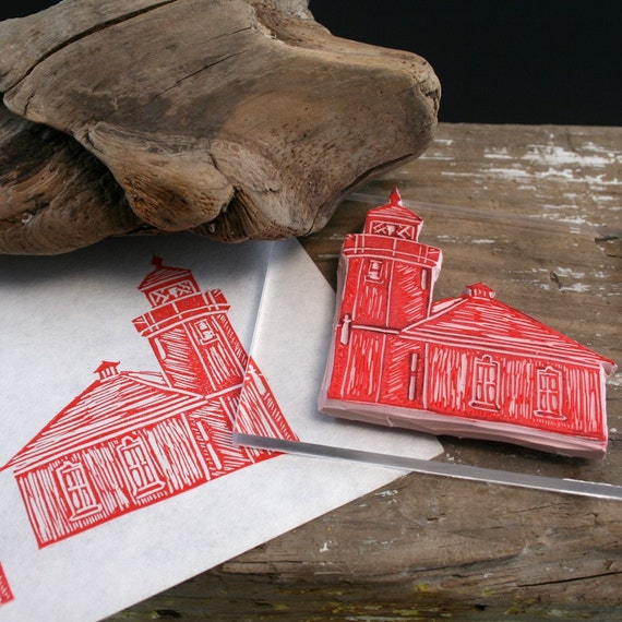 LIGHTHOUSE Hand Carved and MOUNTED Rubber Stamp
