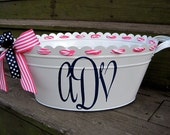 Personalized metal tub-assorted colors available