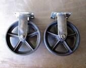 Vintage Rigid 8 inch Caster Wheels / Antique Casters 8RG