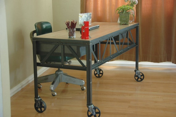 Royston French Industrial Desk On Casters By