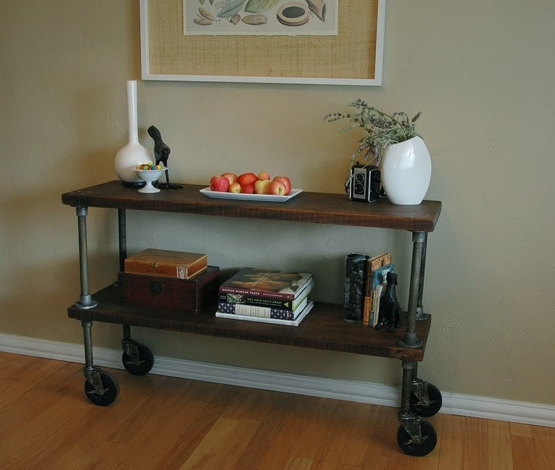 vintage french industrial inspired console table on casters. Black Bedroom Furniture Sets. Home Design Ideas