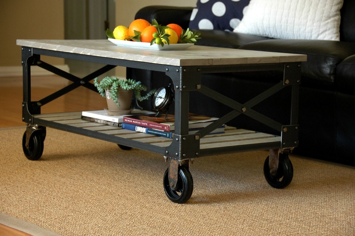 brooklyn coffee table vintage industrial with casters. Black Bedroom Furniture Sets. Home Design Ideas