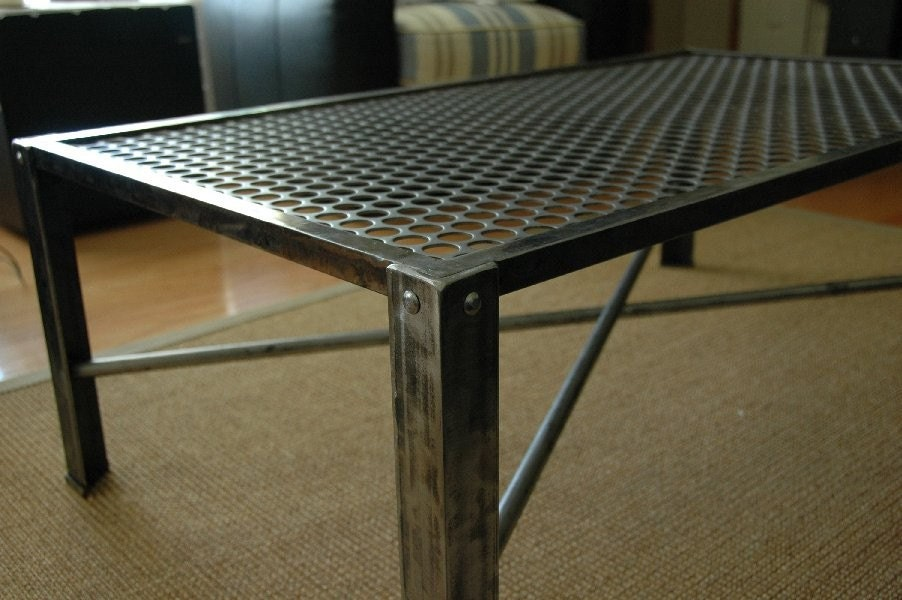 Industrial Metal Coffee Table Mid Century Modern Design