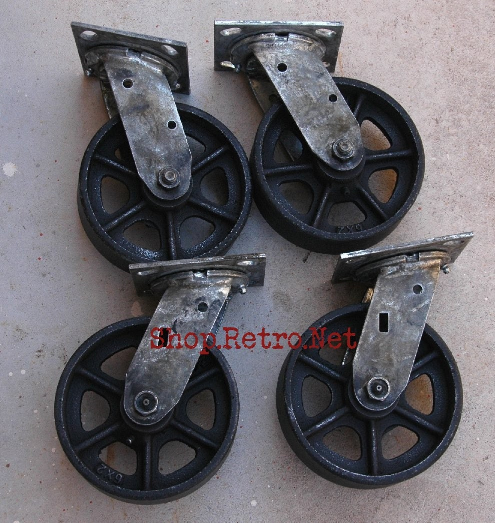Antique Caster Wheels 6 inch Cast Iron Vintage Industrial : ilfullxfull145740769 from www.etsy.com size 989 x 1045 jpeg 268kB