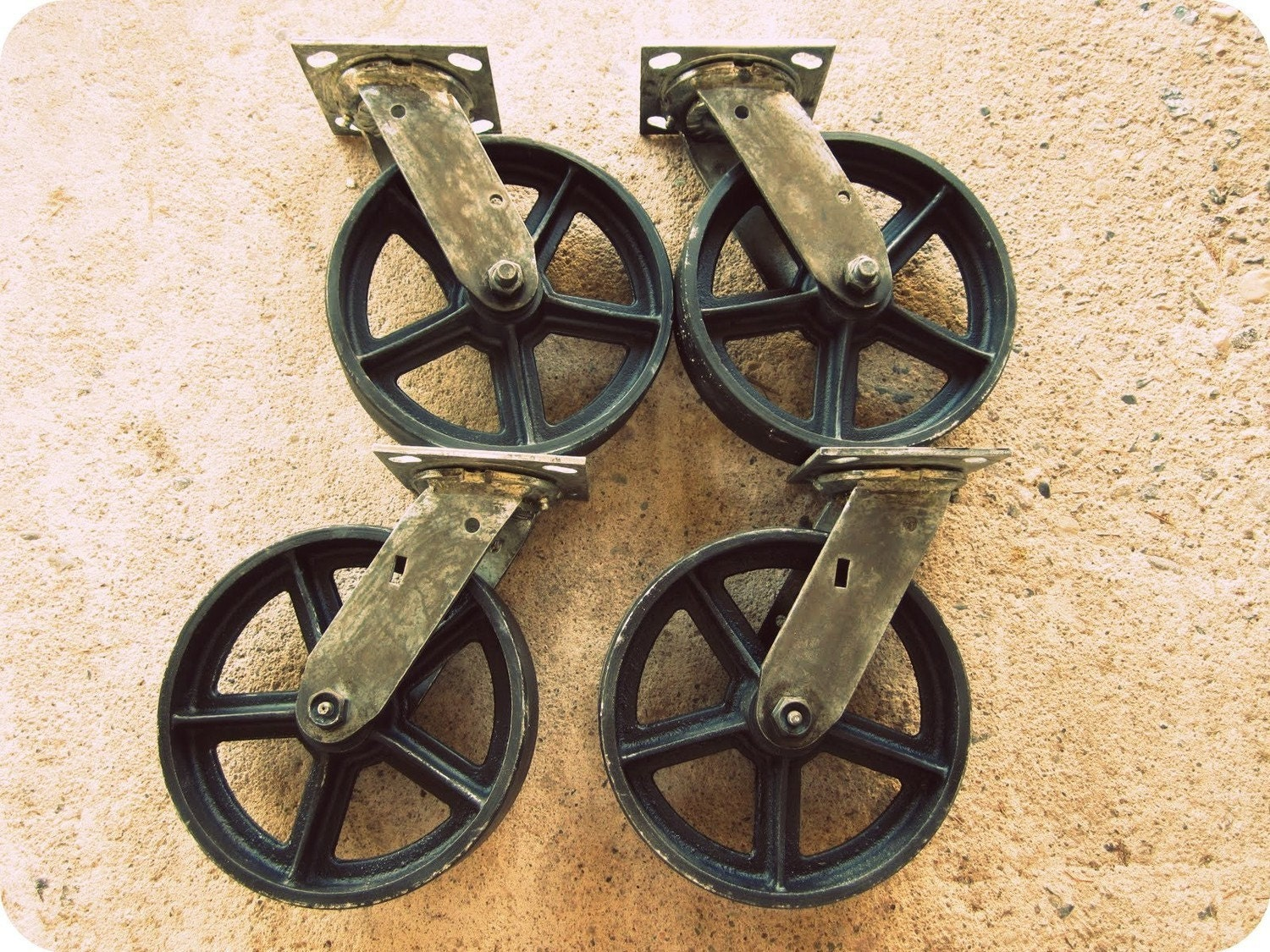 Vintage Swiveling 8 Inch Caster Wheels Antique Casters Set