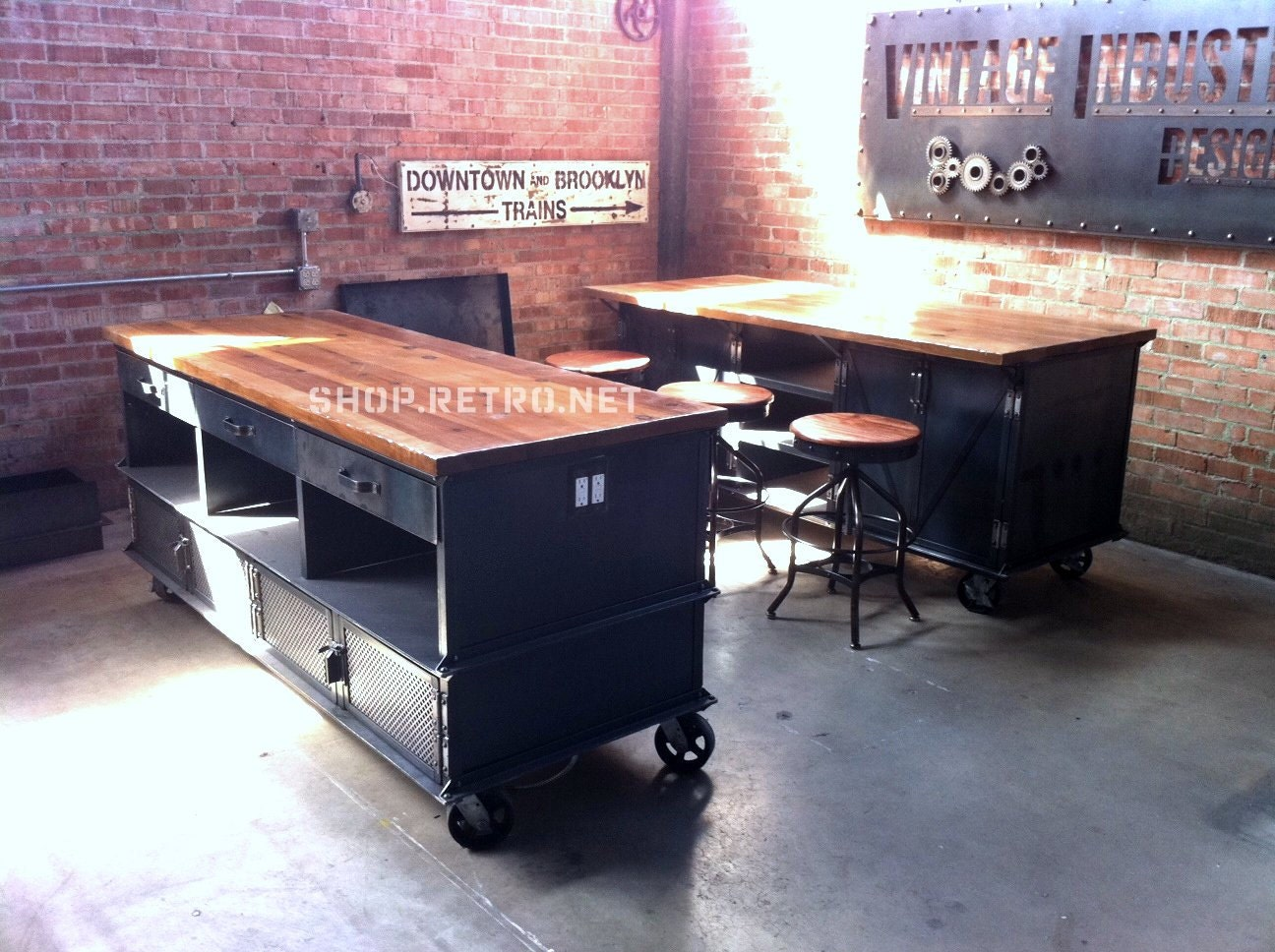 Vintage industrial kitchen island antique by - Table cuisine retro ...