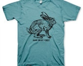 Hare On My Chest Men's Funny Vintage inspired Retro Oceana Blue T-shirt in S, M, L, XL