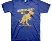 T-Rex Men's Vintage Inspired Funny Royal Blue Dinosaur T-shirt in S, M, L, XL