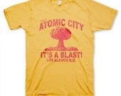 Atomic City men's vintage inspired retro funny yellow t-shirt in s, m, l, xl