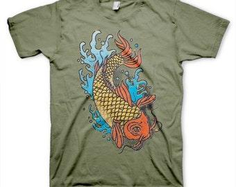 Koi Asian men's cool  inspired novelty t-shirt on s, m, l, xl