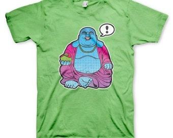 Happy Buddha men's spiritually funny novelty colorful kiwi green t-shirt in s - xl