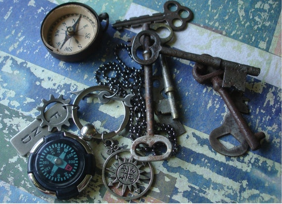 RESERVED for Nancy Howard Marsh Steampunk Necklace -  Key Chain Seek and Find