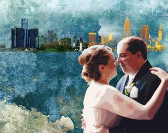 Custom Skyline Anniversary Wedding Canvas Gift 16x20