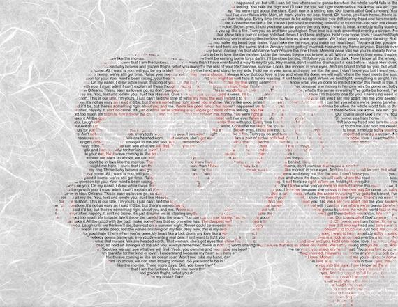 Custom Word Art Wedding Vows Song Lyric Custom Wedding on Textured Paper 8.5x11