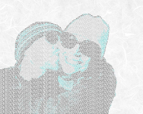 Wedding Vows Song Lyric Custom Word Art Photo Gift on Textured Paper 8.5x11