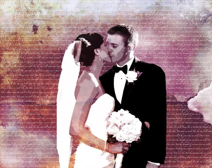 Wedding Anniversary Gift Custom Personalized Wedding Vows Song Lyrics Photo Gift Canvas 16x20