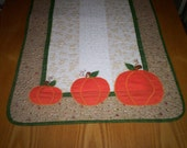 Fabulous Fall Quilted Table Runner Appliqued Pumpkins