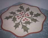 Table Runner Quilted Appliqued Leaves and Berries
