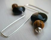 Wood, black, and silver earrings