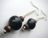Onyx, wood, and silver chain earrings - black and brown circle dangle