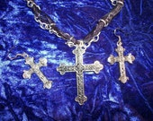 Darkly Devoted Vampire Rebuff Crucifix  Ribbon and Chain Necklace and Earring Set  FREE US SHIPPING