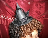 Midnight Madness Mini Witch Hat with Feathers and Bow and Satin Flower FREE US SHIPPING
