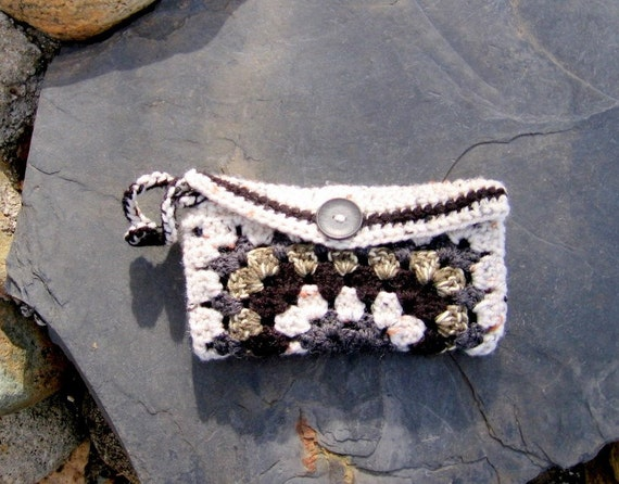 Black & White Granny Square Hand Crochet Wristlet Clutch Pouch - Fully Lined