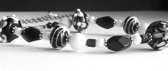 Black and White Necklace / Lampwork / Stone and Glass Beads