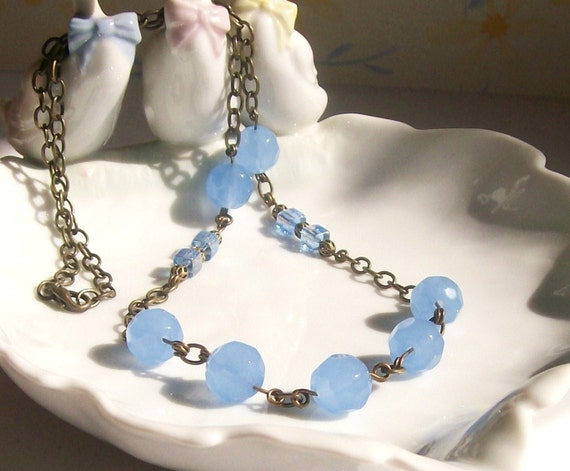 Blue Necklace, Blue Glass Bead Necklace, Beaded Jewelry, Handmade Jewelry, Fashion Jewelry