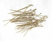 EYEPINS ANTIQUE BRONZE 100 Count 2 Inch Nickel Free Eye Pins Brass Color