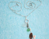 Drilled Seaglass Charm Necklace Seahorse Shell Dangles Long