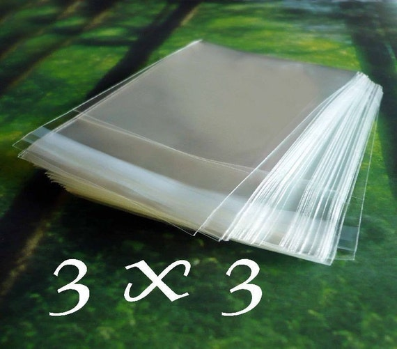 100 Ultra Clear POLY BAGS - 3x3 - Self Adhesive - Earring size