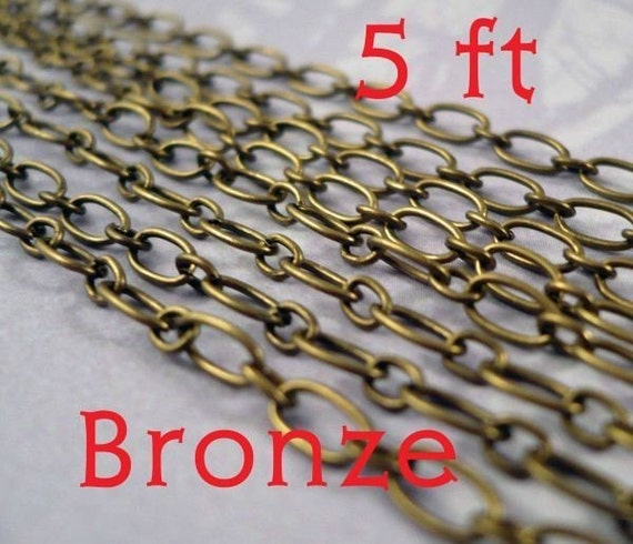 Antiqued Brass CHAIN 5 Feet Mother Son Style Links Antiqued Bronze