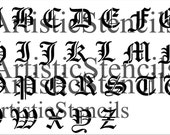 STENCIL Old English 3 Inch Uppercase Alphabet - Free US Shipping