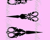 STENCIL Vintage Antique Scissors  8 X 10