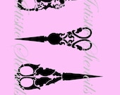 STENCIL Vintage Antique Scissors  6 X 7.3