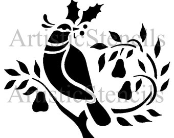 STENCIL Partridge in a Pear Tree