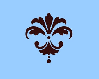 STENCIL Fleur de lis Damask Stencil - Various sizes