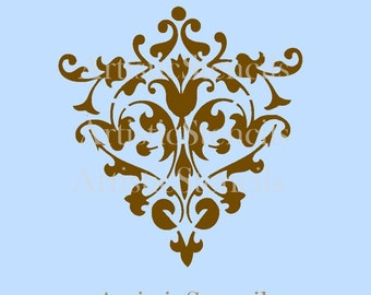 STENCIL Damask Wallpaper Background No 38 6x5.7