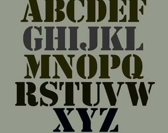 STENCIL Alphabet  Set 4 inch Bold and Chunky Upper Case  FREE SHIPPING